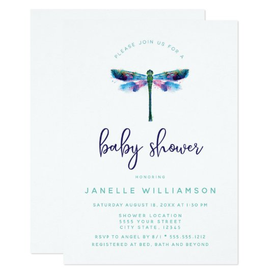 Beautiful Dragonfly Baby Shower Invitation