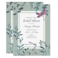 Beautiful Dragonfly Garden Greenery Bridal Shower Invitation