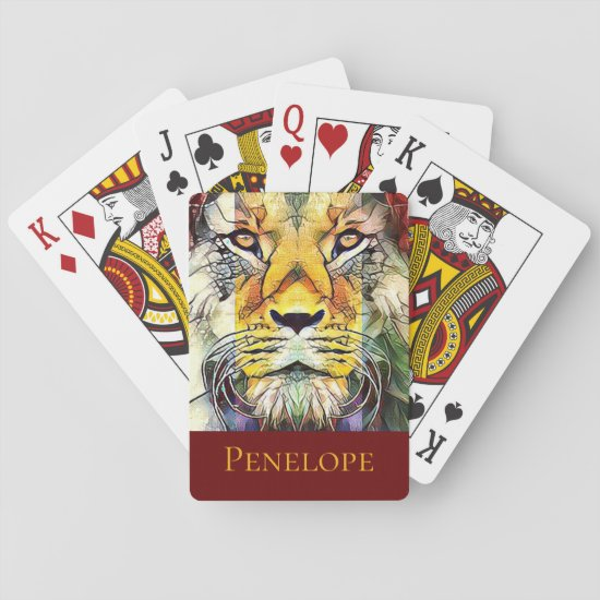 Beautiful Dramatic African Lion Pop Art with Name Playing Cards