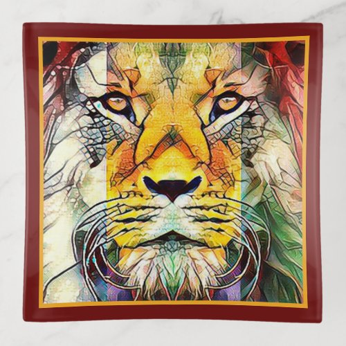 Beautiful Dramatic African Lion Wildlife Pop Art Trinket Trays
