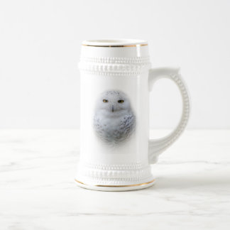 Beautiful, Dreamy and Serene Snowy Owl Beer Stein