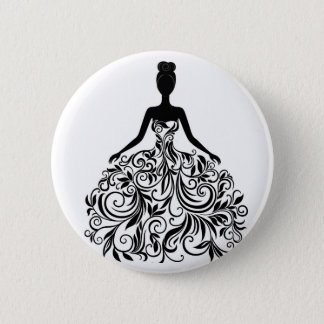 Beautiful Dress Girl Wedding Party Long Pinback Button
