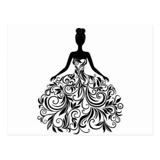 Beautiful Dress Girl Wedding Party Long Postcard