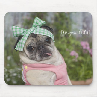 Beautiful dressed up Chinese pug image Mouse Pad