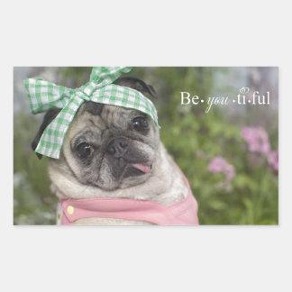 Beautiful dressed up Chinese pug image Rectangle Sticker