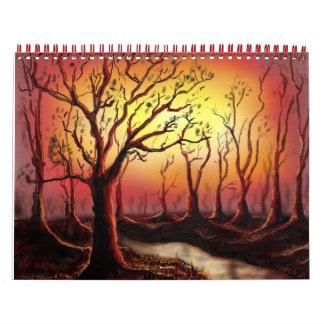 beautiful dusk scene at the forest calendar