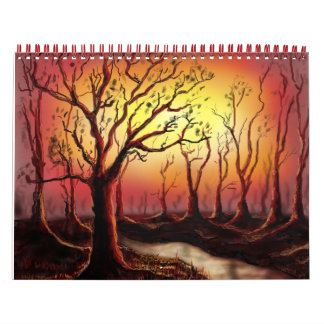 beautiful dusk scene at the forest calendar