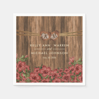 Beautiful Dusty Rose Lily Flowers Paper Napkin