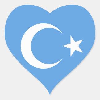 Beautiful East Turkestan Flag Heart Sticker