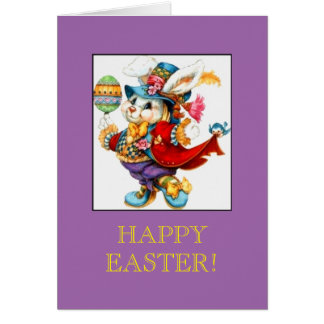 Beautiful Easter Bunny in Fancy Vintage Clothes Card