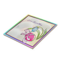 Beautiful Easter Egg, Ribbon and Flower Tile
