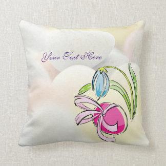 Beautiful Easter Egg Ribbon & Flower Design Pillow