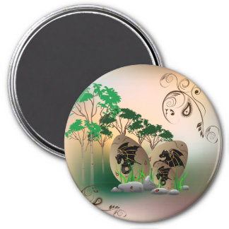 Beautiful easter eggs with dragons and damask 3 inch round magnet