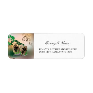 Beautiful easter eggs with dragons and damask return address label