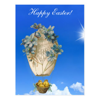 Beautiful Easter - sky, flying chicks and flowers Postcard