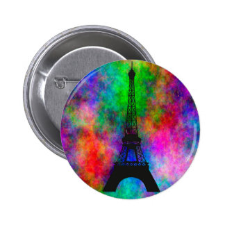 Beautiful Eiffel tower Paris colorful cloth effect Pinback Buttons