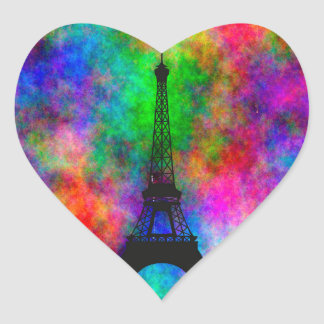 Beautiful Eiffel tower Paris colorful cloth effect Heart Sticker