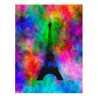 Beautiful Eiffel tower Paris colorful cloth effect Postcard