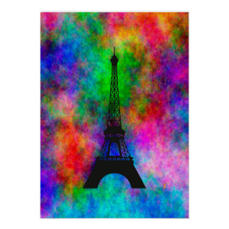Beautiful Eiffel tower Paris colorful cloth effect Poster