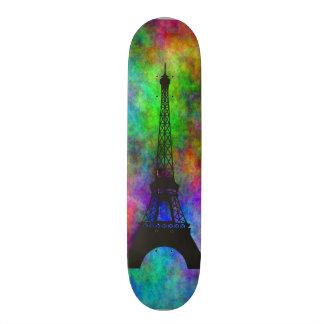 Beautiful Eiffel tower Paris colorful cloth effect Custom Skateboard