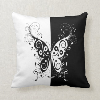 Beautiful elegant black and white butterfly swirls pillow