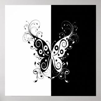 Beautiful elegant black and white butterfly swirls poster