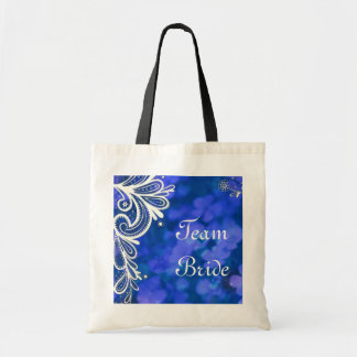 Beautiful elegant blue flower white lace design canvas bag