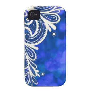 Beautiful elegant blue flower white lace design iPhone 4 case