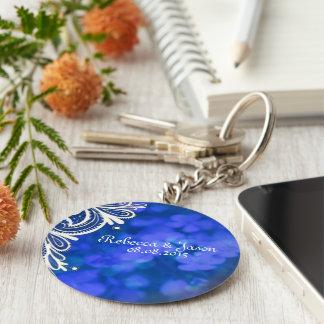 Beautiful elegant blue flower white lace design keychain