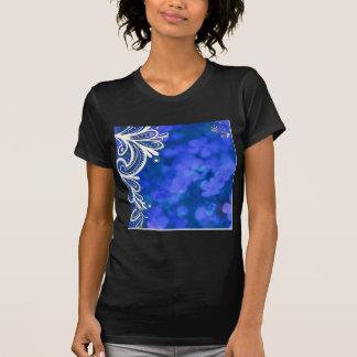 Beautiful elegant blue flower white lace design tshirts