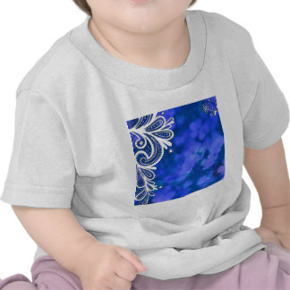 Beautiful elegant blue flower white lace design shirt