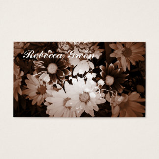 Beautiful elegant brown and white floral design. business card