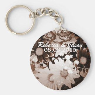 Beautiful elegant brown and white floral design. keychain