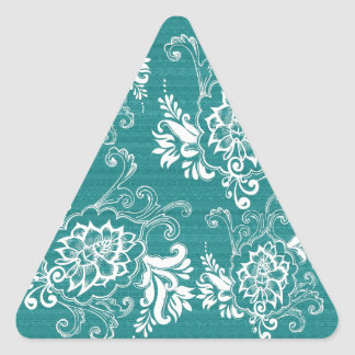 Beautiful, elegant, classic, teal and white floral triangle sticker