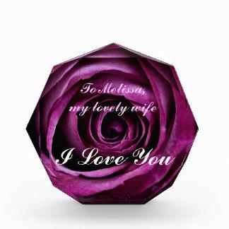 Beautiful Elegant Dramatic Purple Rose with Ribbon Award