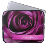 Beautiful Elegant Dramatic Purple Rose with Ribbon Laptop Computer Sleeves