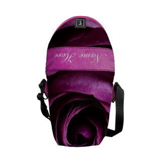 Beautiful Elegant Dramatic Purple Rose with Ribbon Messenger Bag