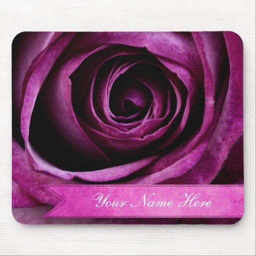Beautiful Elegant Dramatic Purple Rose with Ribbon Mousepads