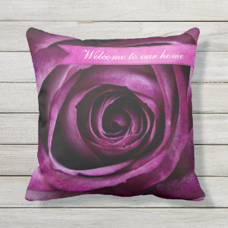 Beautiful Elegant Dramatic Purple Rose with Ribbon Outdoor Pillow