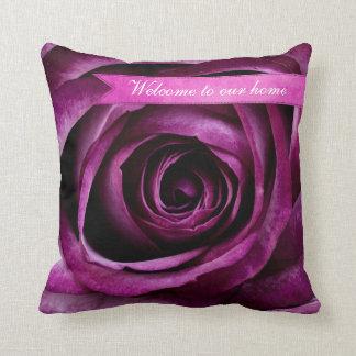 Beautiful Elegant Dramatic Purple Rose with Ribbon Throw Pillow