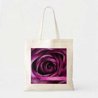 Beautiful Elegant Dramatic Purple Rose with Ribbon Tote Bag