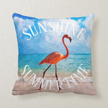 Beach Themed Beautiful Elegant Flamingo On Beach Watercolor Art Throw Pillow