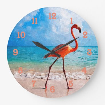 Beach Themed Beautiful Elegant Flamingo On Beach Watercolor Large Clock