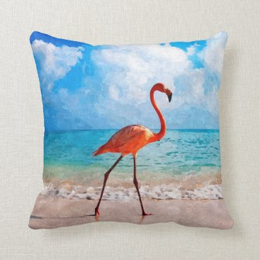 Beach Themed Beautiful Elegant Flamingo On Beach Watercolor Throw Pillow