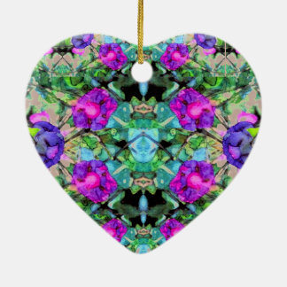 Beautiful Elegant Floral Christmas Ceramic Heart 2 Ceramic Ornament