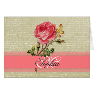 Beautiful  elegant girly monogram vintage roses card