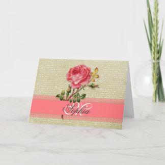 Beautiful  elegant girly monogram vintage roses note card