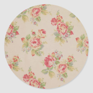 Beautiful elegant girly vintage floral pattern classic round sticker