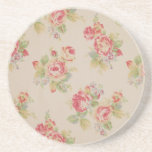 "Beautiful elegant girly vintage floral pattern coaster<br><div class=""desc"">Beautiful elegant girly vintage floral pattern roses flowers bouquets pink blue green soft colours image print</div>"