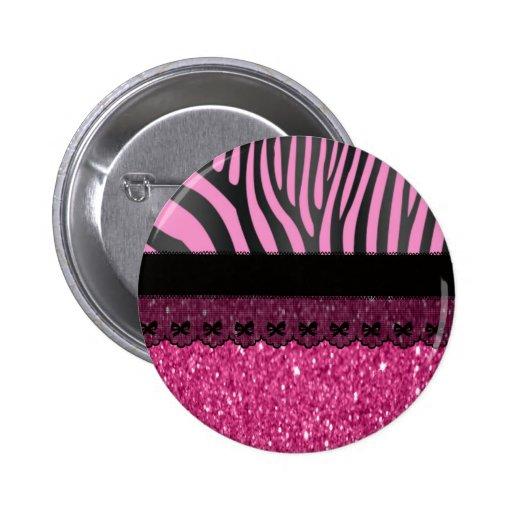 Beautiful elegant girly  zebra lace glitter effect buttons
